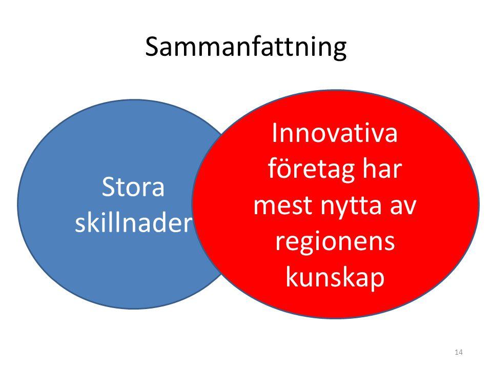 Sammanfattning 14 Stora skillnader Innovativa företag har mest nytta av regionens kunskap