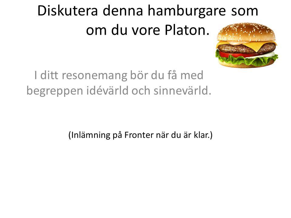 Diskutera denna hamburgare som om du vore Platon. I ditt resonemang bör du få med begreppen idévärld och sinnevärld. (Inlämning på Fronter när du är k