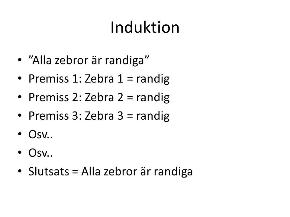 """Induktion """"Alla zebror är randiga"""" Premiss 1: Zebra 1 = randig Premiss 2: Zebra 2 = randig Premiss 3: Zebra 3 = randig Osv.. Slutsats = Alla zebror är"""