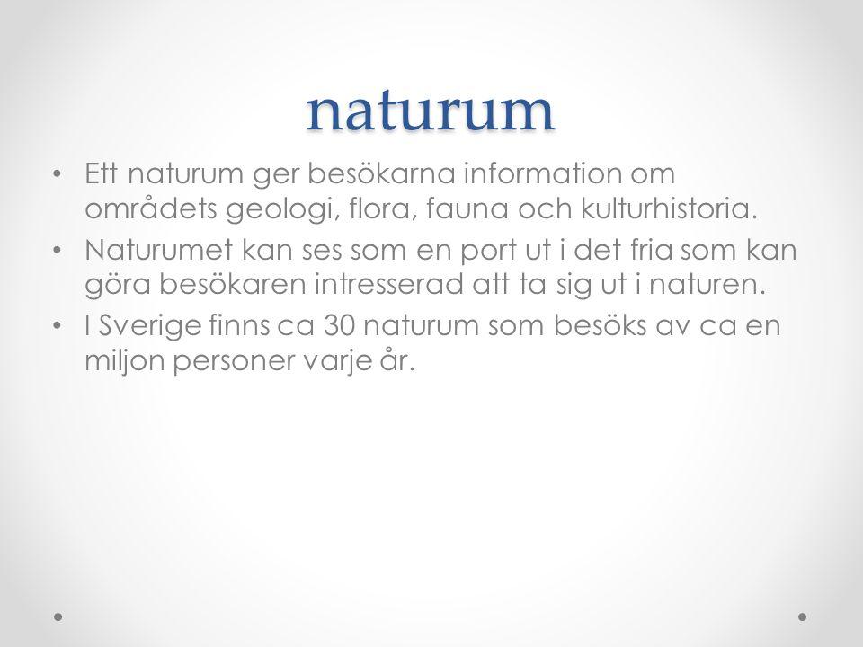 naturum Ett naturum ger besökarna information om områdets geologi, flora, fauna och kulturhistoria. Naturumet kan ses som en port ut i det fria som ka