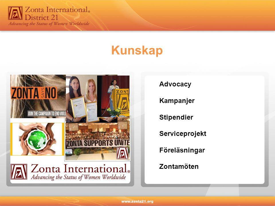 Kunskap Advocacy Kampanjer Stipendier Serviceprojekt Föreläsningar Zontamöten