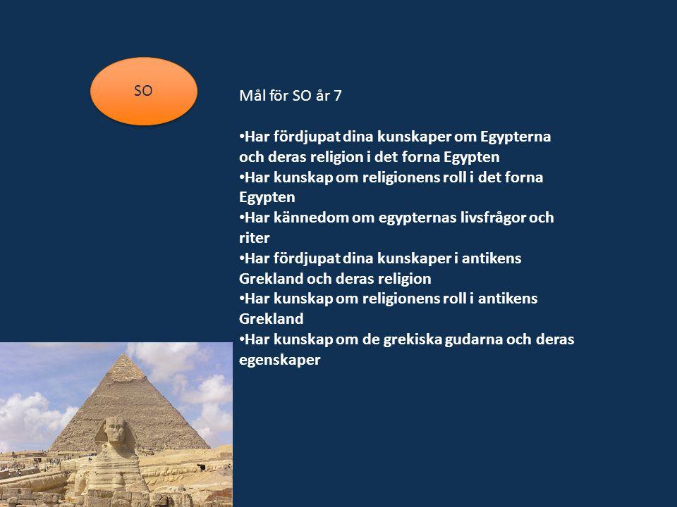 SO Mål för SO år 7 Har fördjupat dina kunskaper om Egypterna och deras religion i det forna Egypten Har kunskap om religionens roll i det forna Egypten Har kännedom om egypternas livsfrågor och riter Har fördjupat dina kunskaper i antikens Grekland och deras religion Har kunskap om religionens roll i antikens Grekland Har kunskap om de grekiska gudarna och deras egenskaper