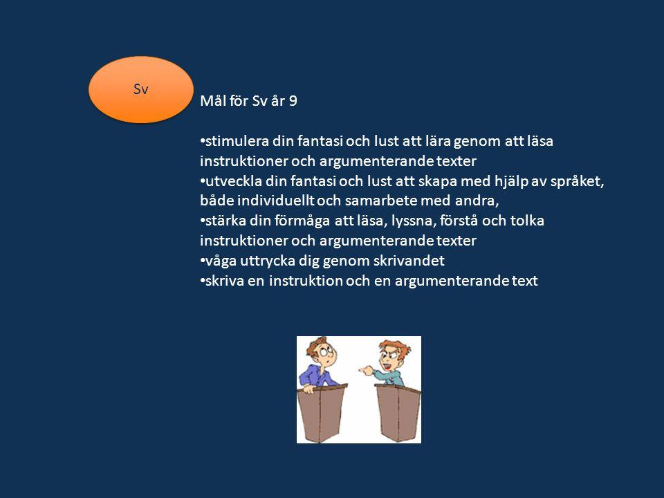 Mål för Sv år 9 stimulera din fantasi och lust att lära genom att läsa instruktioner och argumenterande texter utveckla din fantasi och lust att skapa med hjälp av språket, både individuellt och samarbete med andra, stärka din förmåga att läsa, lyssna, förstå och tolka instruktioner och argumenterande texter våga uttrycka dig genom skrivandet skriva en instruktion och en argumenterande text Sv