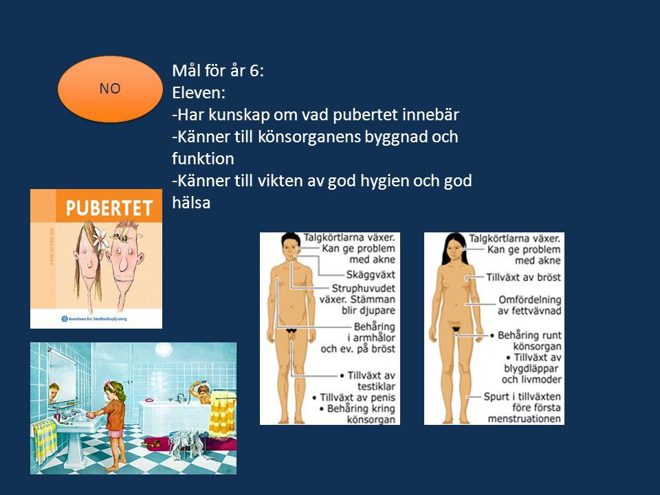 Mål för år 6: Eleven: -Har kunskap om vad pubertet innebär -Känner till könsorganens byggnad och funktion -Känner till vikten av god hygien och god hä
