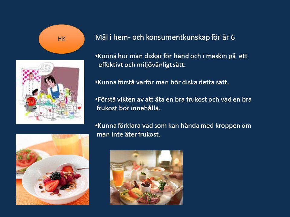 HK Mål i hem- och konsumentkunskap för år 6 Kunna hur man diskar för hand och i maskin på ett effektivt och miljövänligt sätt.