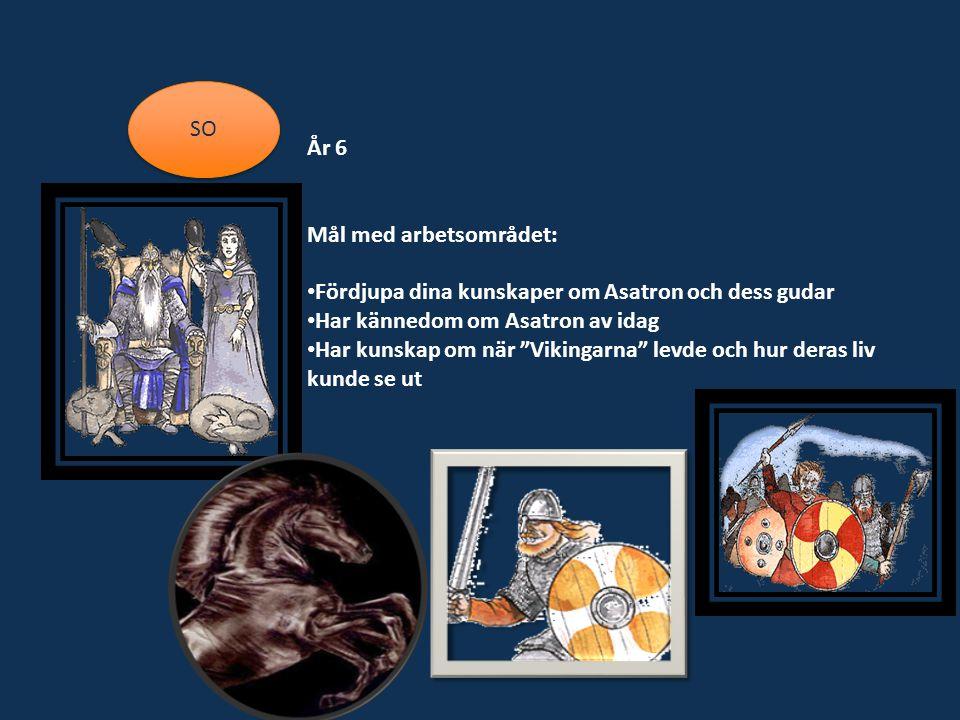 SO År 6 Mål med arbetsområdet: Fördjupa dina kunskaper om Asatron och dess gudar Har kännedom om Asatron av idag Har kunskap om när Vikingarna levde och hur deras liv kunde se ut
