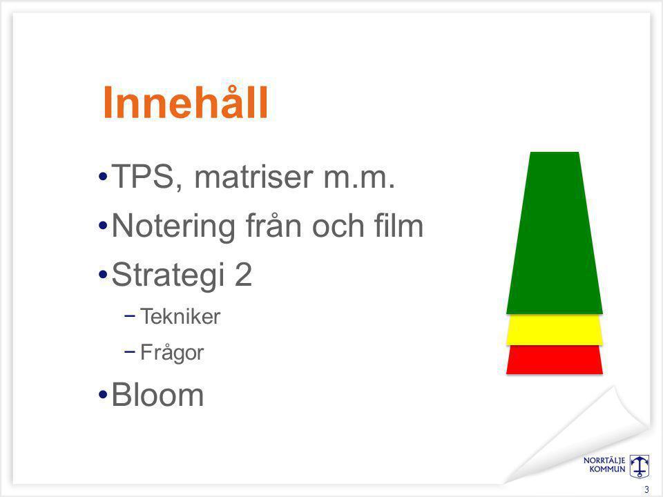 Innehåll TPS, matriser m.m. Notering från och film Strategi 2 −Tekniker −Frågor Bloom 3