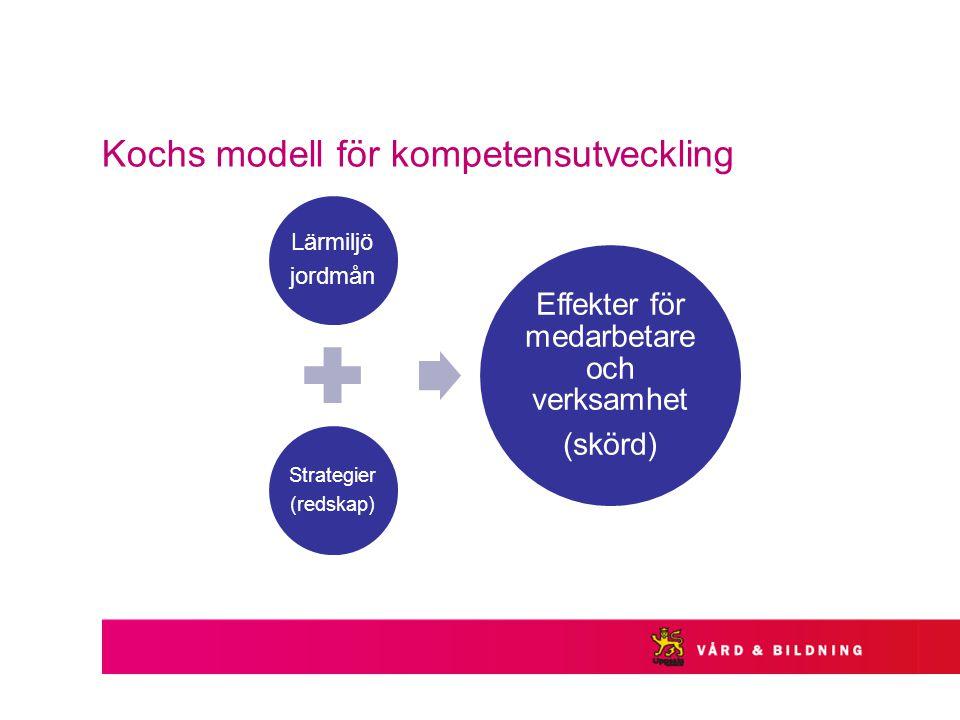 Kochs modell för kompetensutveckling Lärmiljö jordmån Strategier (redskap) Effekter för medarbetare och verksamhet (skörd)