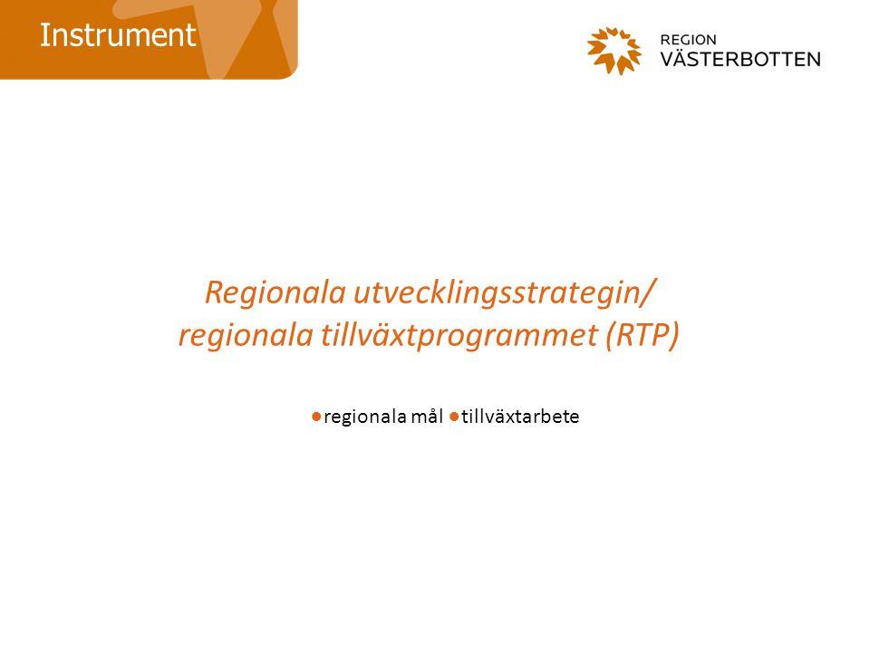 Regionala utvecklingsstrategin/ regionala tillväxtprogrammet (RTP) Instrument ●regionala mål ●tillväxtarbete