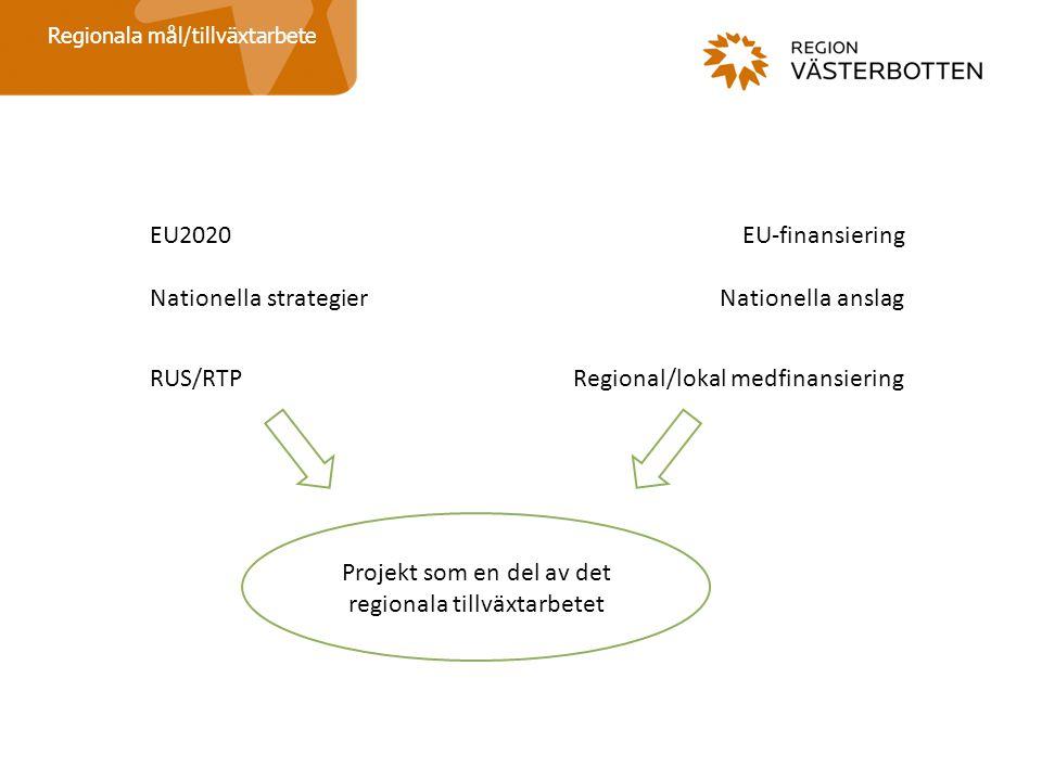 Regionala mål/tillväxtarbete EU2020 Nationella strategier RUS/RTP EU-finansiering Nationella anslag Regional/lokal medfinansiering Projekt som en del av det regionala tillväxtarbetet