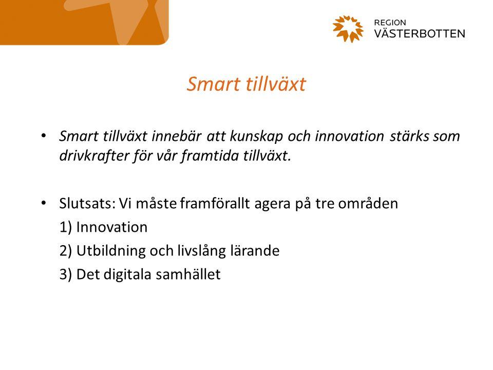 Smart tillväxt Smart tillväxt innebär att kunskap och innovation stärks som drivkrafter för vår framtida tillväxt.