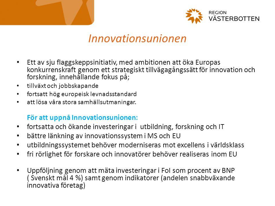 Innovationsunionen Ett av sju flaggskeppsinitiativ, med ambitionen att öka Europas konkurrenskraft genom ett strategiskt tillvägagångssätt för innovation och forskning, innehållande fokus på; tillväxt och jobbskapande fortsatt hög europeisk levnadsstandard att lösa våra stora samhällsutmaningar.