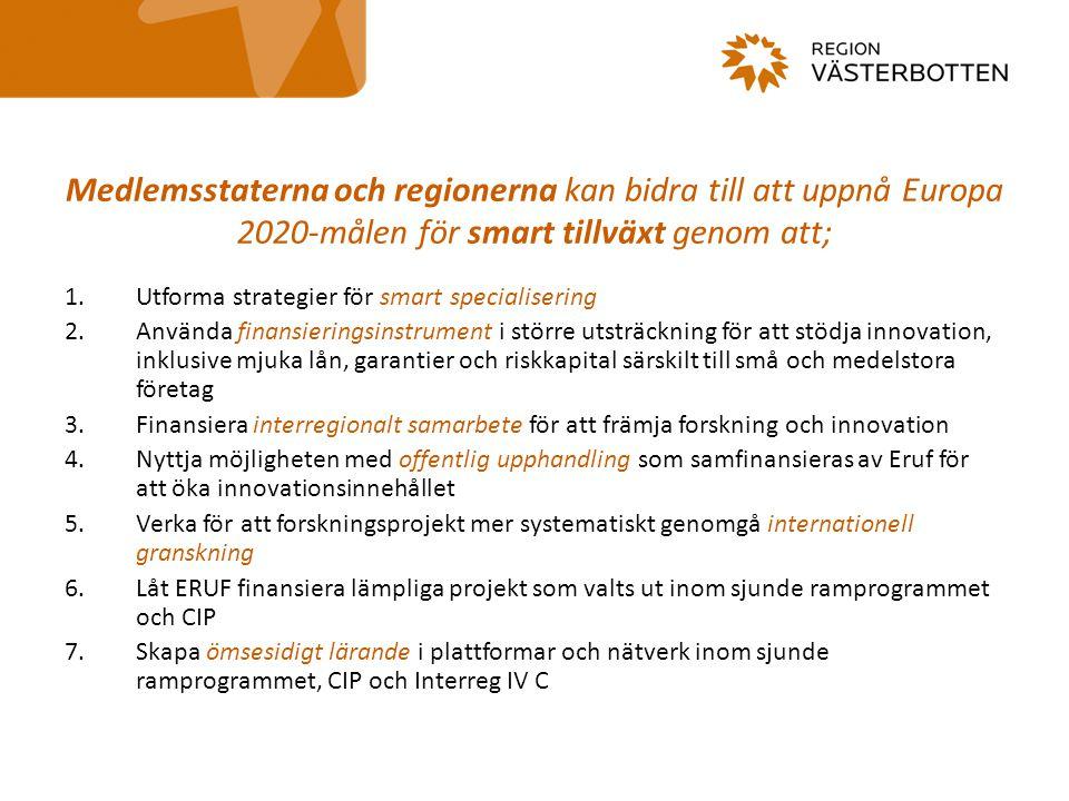 Medlemsstaterna och regionerna kan bidra till att uppnå Europa 2020-målen för smart tillväxt genom att; 1.Utforma strategier för smart specialisering 2.Använda finansieringsinstrument i större utsträckning för att stödja innovation, inklusive mjuka lån, garantier och riskkapital särskilt till små och medelstora företag 3.Finansiera interregionalt samarbete för att främja forskning och innovation 4.Nyttja möjligheten med offentlig upphandling som samfinansieras av Eruf för att öka innovationsinnehållet 5.Verka för att forskningsprojekt mer systematiskt genomgå internationell granskning 6.Låt ERUF finansiera lämpliga projekt som valts ut inom sjunde ramprogrammet och CIP 7.Skapa ömsesidigt lärande i plattformar och nätverk inom sjunde ramprogrammet, CIP och Interreg IV C