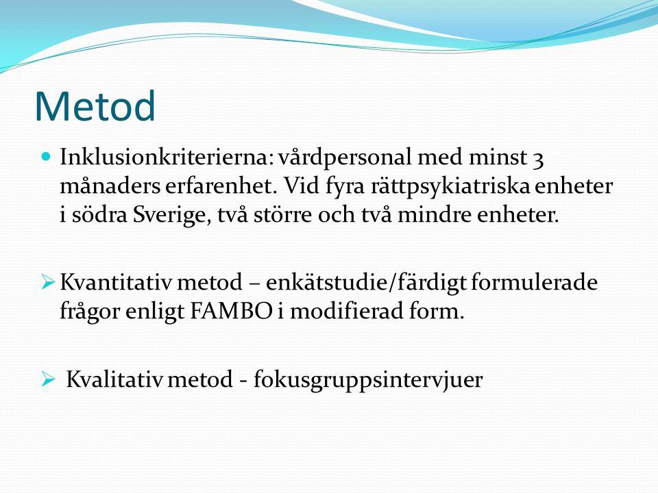 Metod Inklusionkriterierna: vårdpersonal med minst 3 månaders erfarenhet. Vid fyra rättpsykiatriska enheter i södra Sverige, två större och två mindre