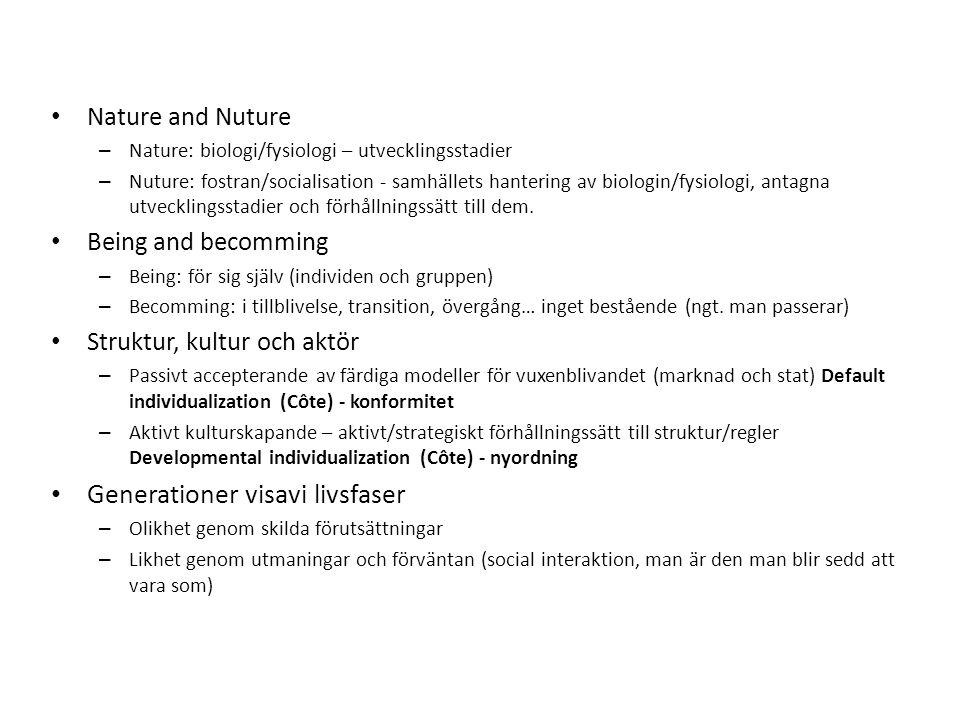 Nature and Nuture – Nature: biologi/fysiologi – utvecklingsstadier – Nuture: fostran/socialisation - samhällets hantering av biologin/fysiologi, antagna utvecklingsstadier och förhållningssätt till dem.