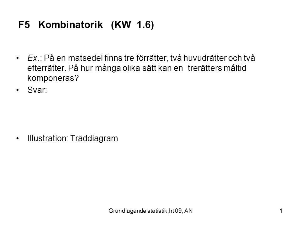 Grundlägande statistik,ht 09, AN1 F5 Kombinatorik (KW 1.6) Ex.: På en matsedel finns tre förrätter, två huvudrätter och två efterrätter. På hur många