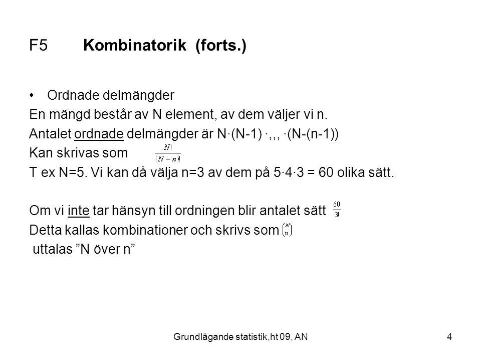 Grundlägande statistik,ht 09, AN4 F5 Kombinatorik (forts.) Ordnade delmängder En mängd består av N element, av dem väljer vi n. Antalet ordnade delmän