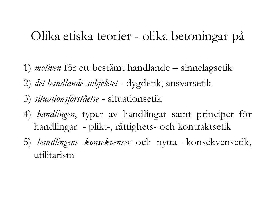 Olika etiska teorier - olika betoningar på 1) motiven för ett bestämt handlande – sinnelagsetik 2) det handlande subjektet - dygdetik, ansvarsetik 3)