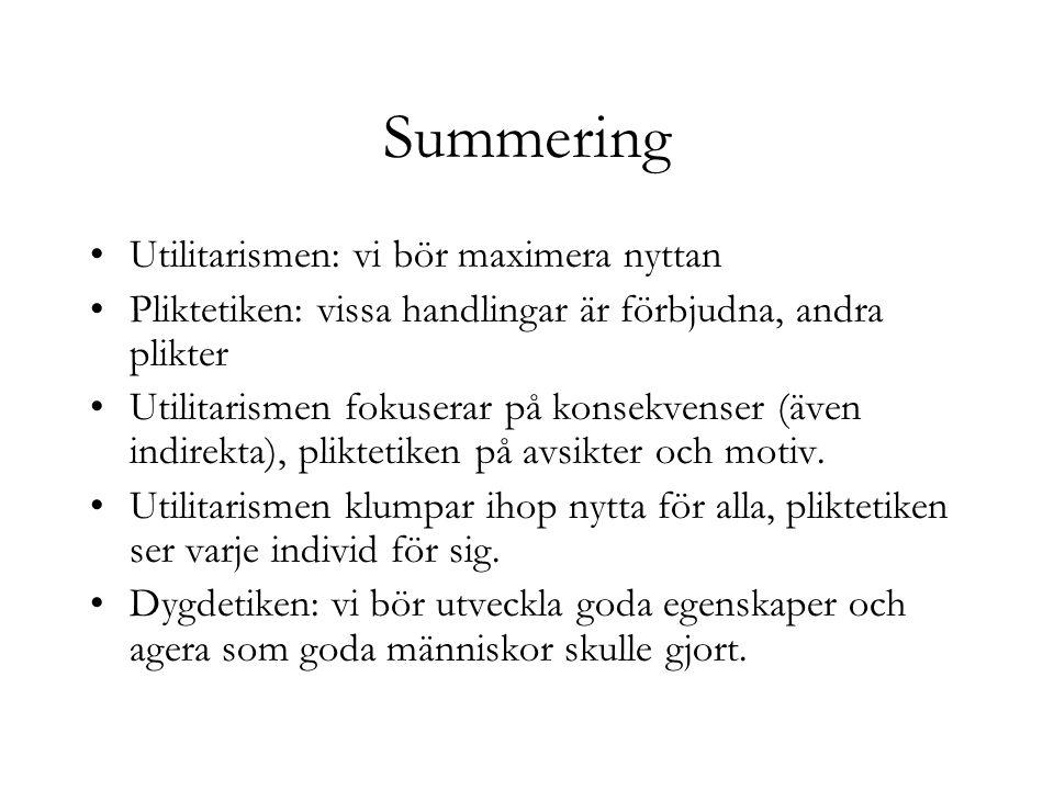 Summering Utilitarismen: vi bör maximera nyttan Pliktetiken: vissa handlingar är förbjudna, andra plikter Utilitarismen fokuserar på konsekvenser (äve