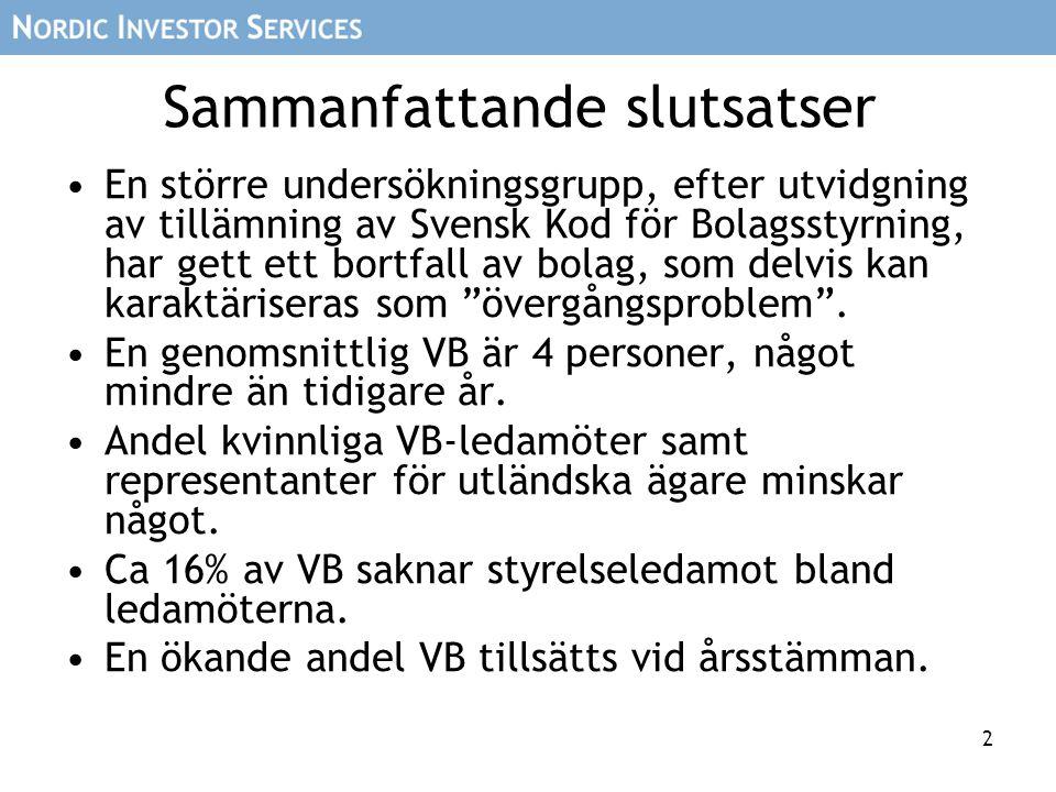 2 Sammanfattande slutsatser En större undersökningsgrupp, efter utvidgning av tillämning av Svensk Kod för Bolagsstyrning, har gett ett bortfall av bolag, som delvis kan karaktäriseras som övergångsproblem .