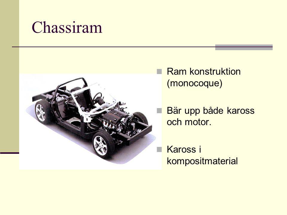 Chassiram Ram konstruktion (monocoque) Bär upp både kaross och motor. Kaross i kompositmaterial