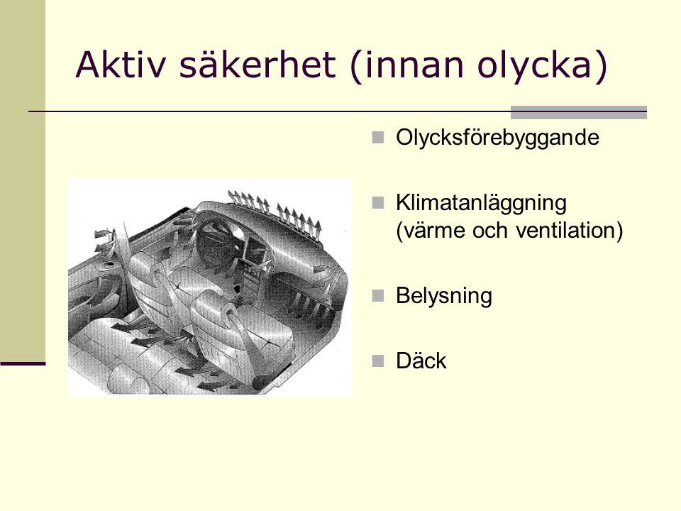 Aktiv säkerhet (innan olycka) Olycksförebyggande Klimatanläggning (värme och ventilation) Belysning Däck