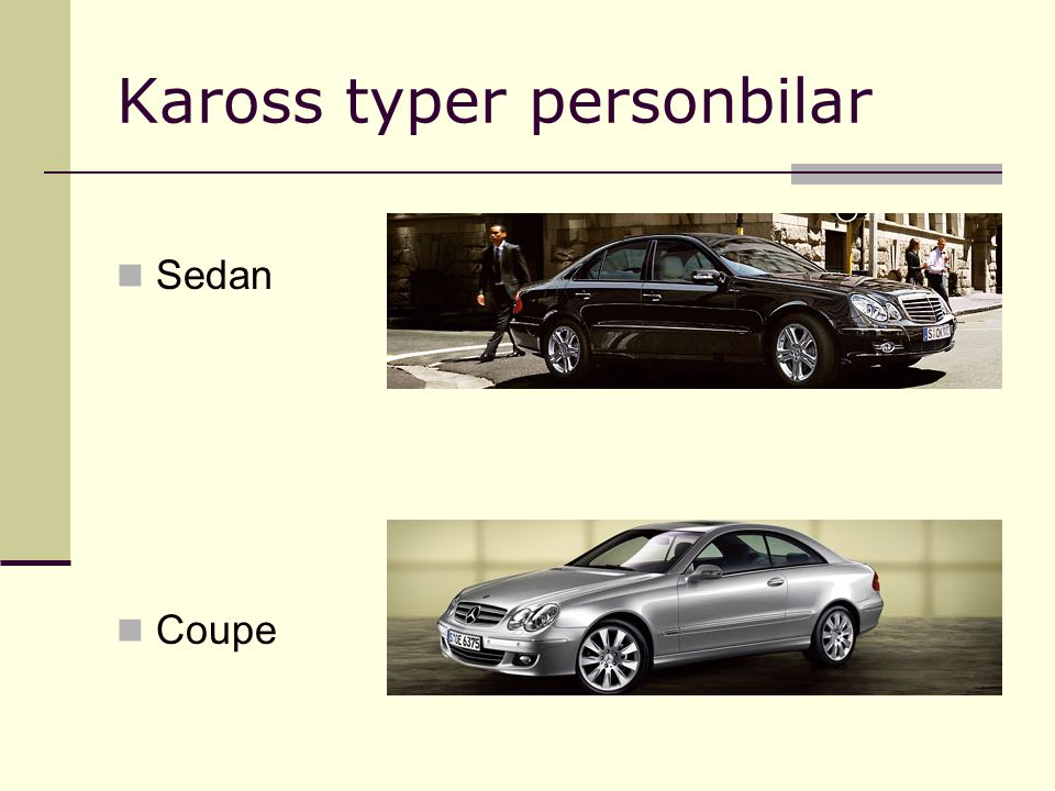 Kaross typer personbilar Sedan Coupe