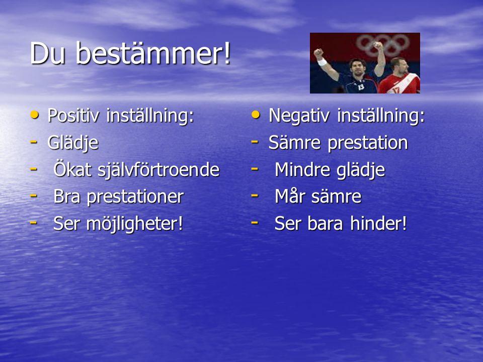Du bestämmer! Positiv inställning: Positiv inställning: - Glädje - Ökat självförtroende - Bra prestationer - Ser möjligheter! Negativ inställning: Neg