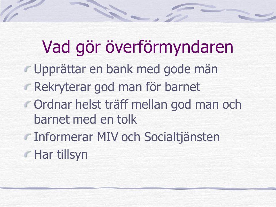 Vad gör överförmyndaren Upprättar en bank med gode män Rekryterar god man för barnet Ordnar helst träff mellan god man och barnet med en tolk Informerar MIV och Socialtjänsten Har tillsyn