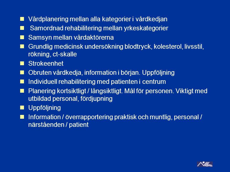 Vårdplanering mellan alla kategorier i vårdkedjan Samordnad rehabilitering mellan yrkeskategorier Samsyn mellan vårdaktörerna Grundlig medicinsk undersökning blodtryck, kolesterol, livsstil, rökning, ct-skalle Strokeenhet Obruten vårdkedja, information i början.