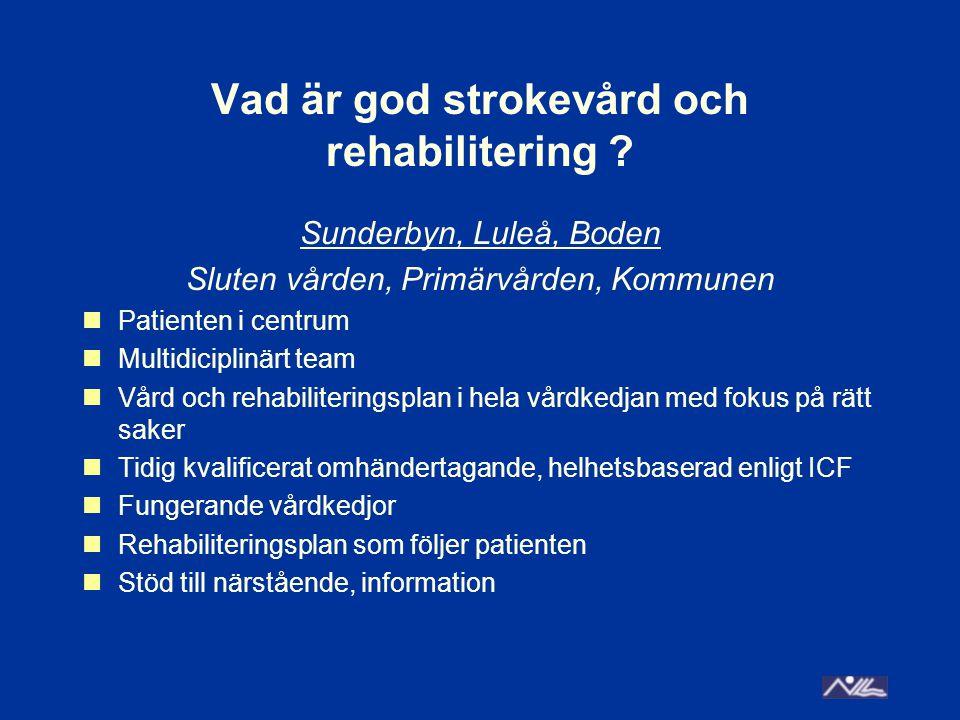 Att alla med nutritions svårigheter efter sin stroke ska få dietistkontakt redan på sjukhuset Rutiner för att nutritionsuppföljning finns mellan sluten vården och primärvården Likvärdig och säker vård Tillgång till olika kompetenser inom sluten vård, primärvård och kommun Gott omhändertagande, värdigt bemötande utifrån varje patients behov = delaktighet genom att teamet med patienten gör en vårdplan / rehabiliteringsplan som ägs av patienten och dennes närstående Meddix, säkerställa så att alla får uppföljning – rutiner, överrapportering Hela vårdkedjan – gemensamma mål för alla inblandade, gemensam vårdplan Tydliggöra ansvar och uppföljning gällande körkortsbedömning