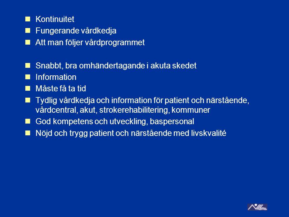 Kontinuitet Fungerande vårdkedja Att man följer vårdprogrammet Snabbt, bra omhändertagande i akuta skedet Information Måste få ta tid Tydlig vårdkedja