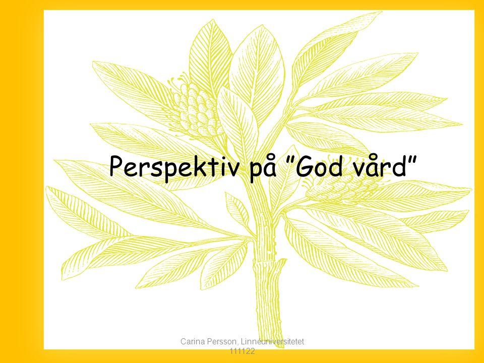 Perspektiv på God vård Carina Persson, Linnéuniversitetet 111122
