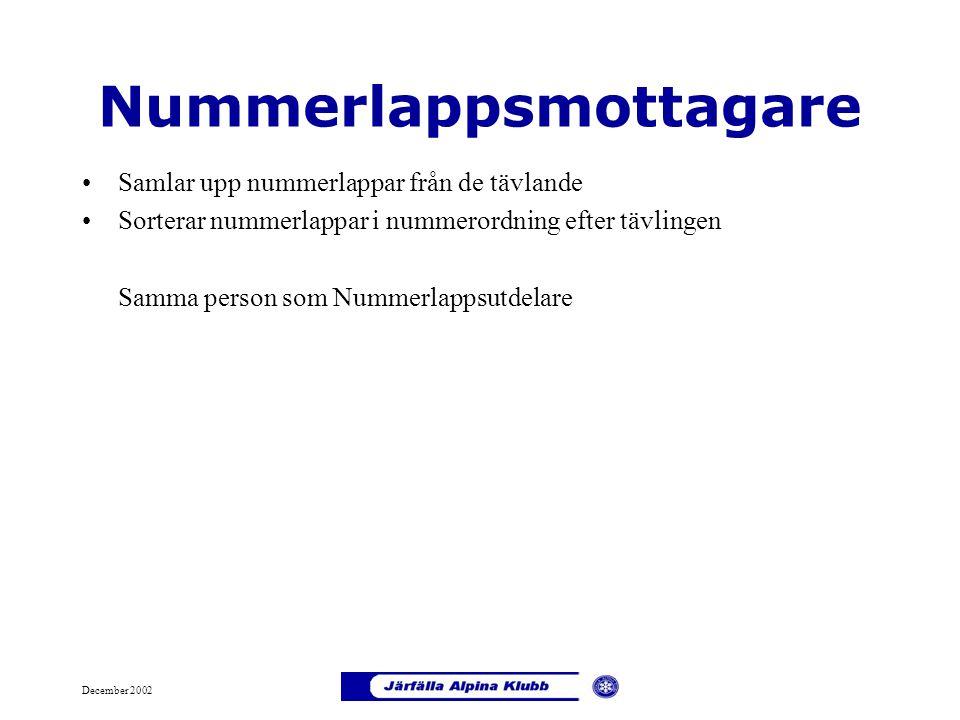 December 2002 Nummerlappsmottagare Samlar upp nummerlappar från de tävlande Sorterar nummerlappar i nummerordning efter tävlingen Samma person som Num