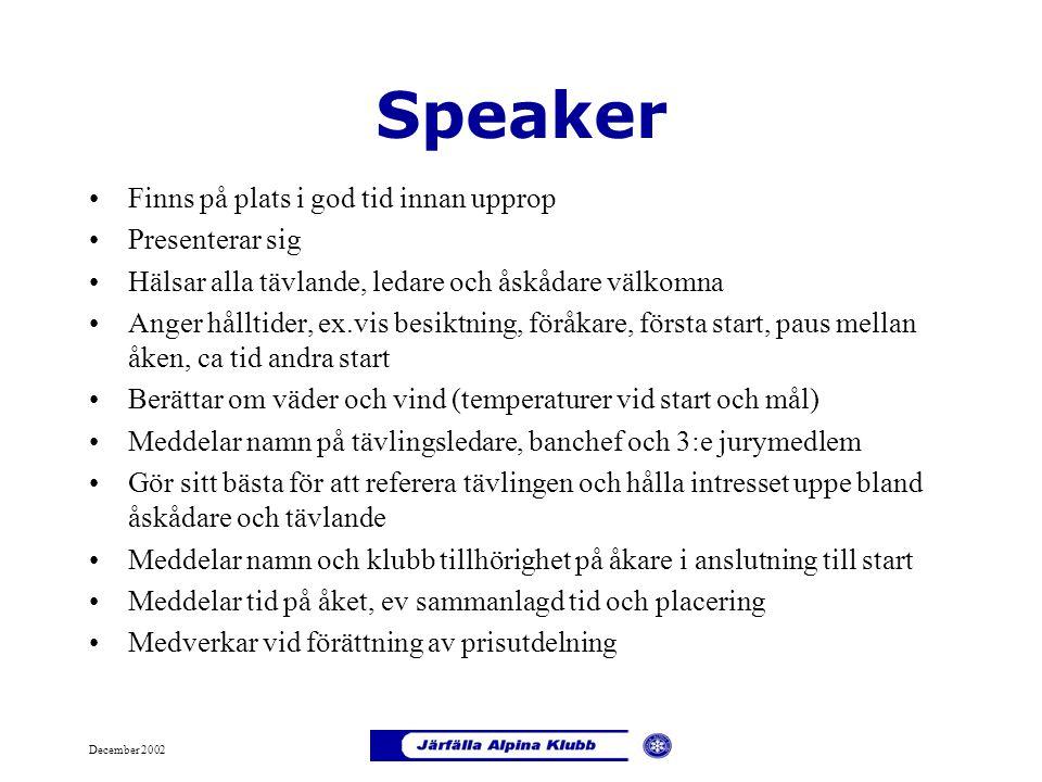 December 2002 Speaker Finns på plats i god tid innan upprop Presenterar sig Hälsar alla tävlande, ledare och åskådare välkomna Anger hålltider, ex.vis