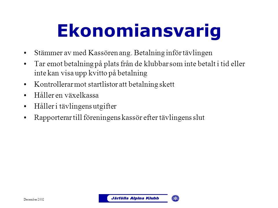 December 2002 Ekonomiansvarig Stämmer av med Kassören ang. Betalning inför tävlingen Tar emot betalning på plats från de klubbar som inte betalt i tid