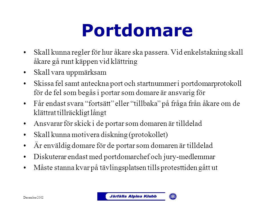 December 2002 Portdomare Skall kunna regler för hur åkare ska passera. Vid enkelstakning skall åkare gå runt käppen vid klättring Skall vara uppmärksa