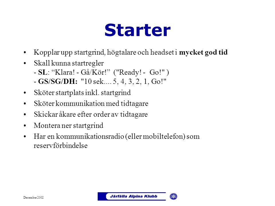 """December 2002 Starter Kopplar upp startgrind, högtalare och headset i mycket god tid Skall kunna startregler - SL: """"Klara! - Gå/Kör!"""" ("""