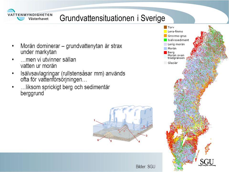 Grundvattensituationen i Sverige Morän dominerar – grundvattenytan är strax under markytan …men vi utvinner sällan vatten ur morän Isälvsavlagringar (rullstensåsar mm) används ofta för vattenförsörjningen… …liksom sprickigt berg och sedimentär berggrund Bilder: SGU