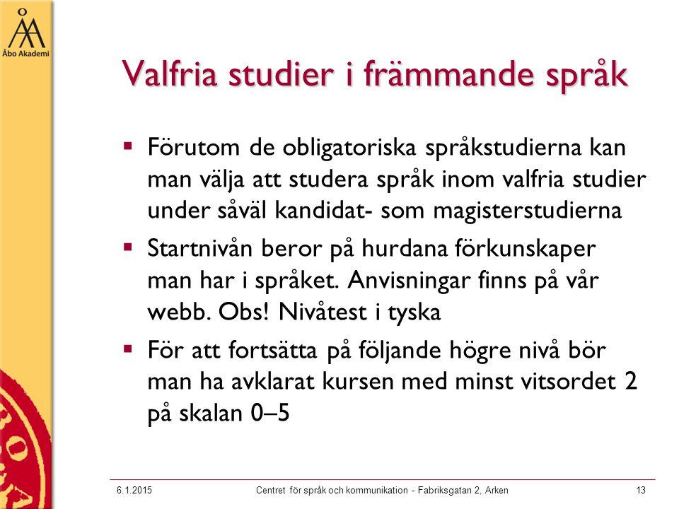Valfria studier i främmande språk  Förutom de obligatoriska språkstudierna kan man välja att studera språk inom valfria studier under såväl kandidat- som magisterstudierna  Startnivån beror på hurdana förkunskaper man har i språket.