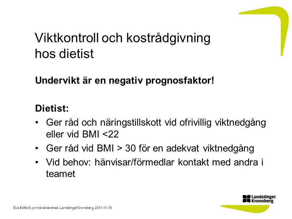Eva Edfeldt, primärvårdsrehab, Landstinget Kronoberg, 2011-11-16 Viktkontroll och kostrådgivning hos dietist Undervikt är en negativ prognosfaktor! Di