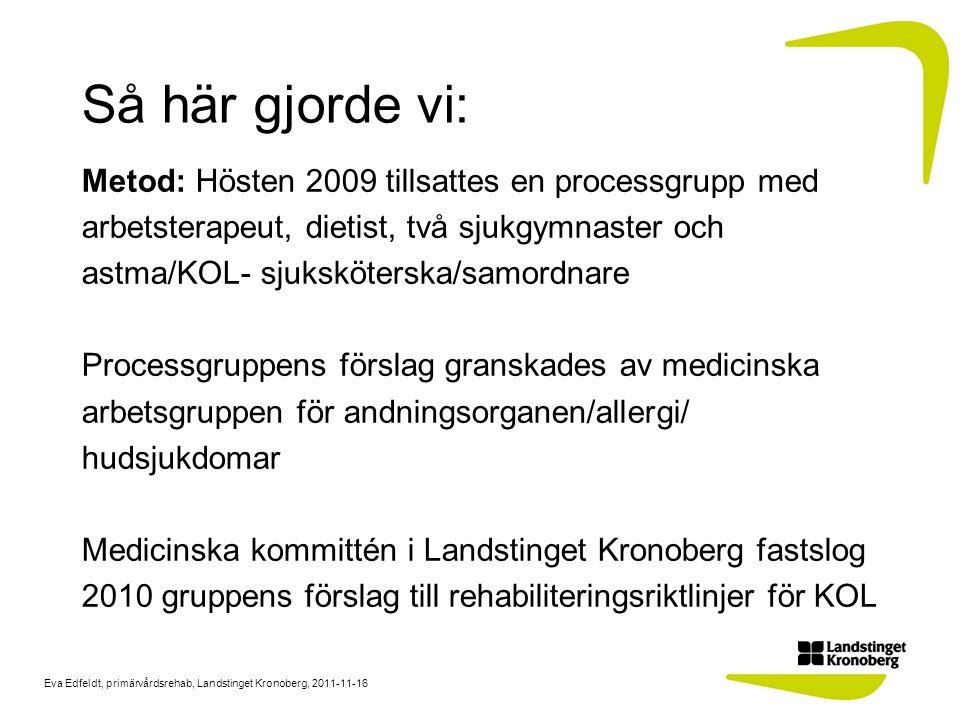 Eva Edfeldt, primärvårdsrehab, Landstinget Kronoberg, 2011-11-16 Så här gjorde vi: Metod: Hösten 2009 tillsattes en processgrupp med arbetsterapeut, d