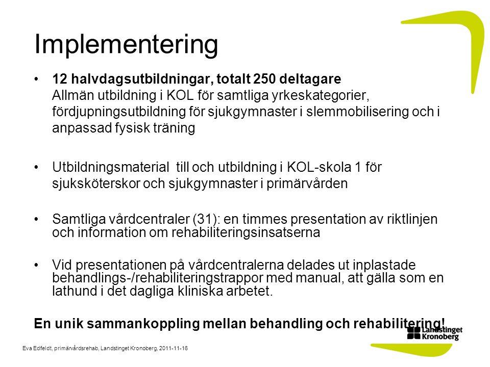 Eva Edfeldt, primärvårdsrehab, Landstinget Kronoberg, 2011-11-16 Implementering 12 halvdagsutbildningar, totalt 250 deltagare Allmän utbildning i KOL