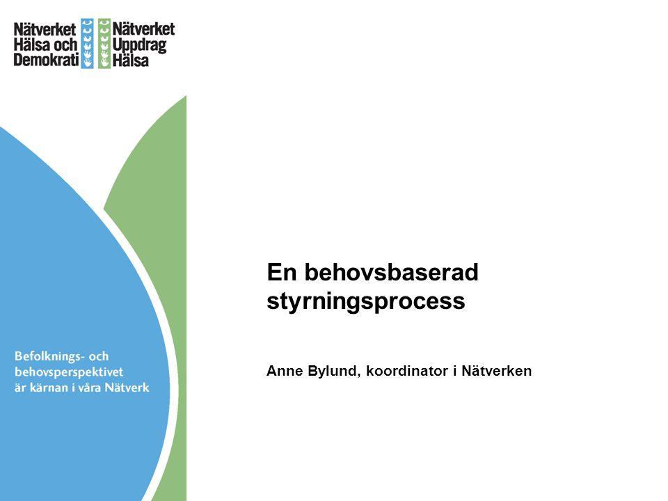 En behovsbaserad styrningsprocess Anne Bylund, koordinator i Nätverken