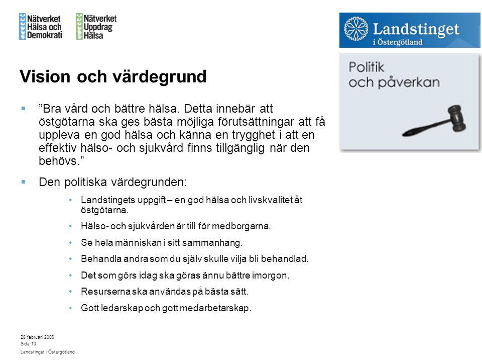 """28 februari 2009 Landstinget i Östergötland Sida 10 Vision och värdegrund  """"Bra vård och bättre hälsa. Detta innebär att östgötarna ska ges bästa möj"""
