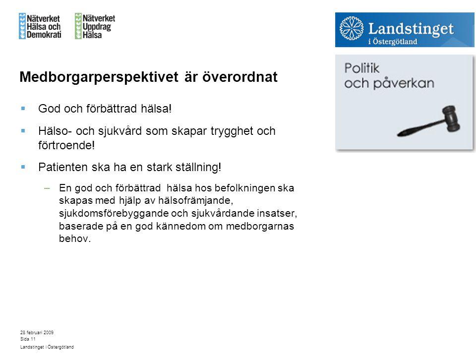 28 februari 2009 Landstinget i Östergötland Sida 11 Medborgarperspektivet är överordnat  God och förbättrad hälsa!  Hälso- och sjukvård som skapar t