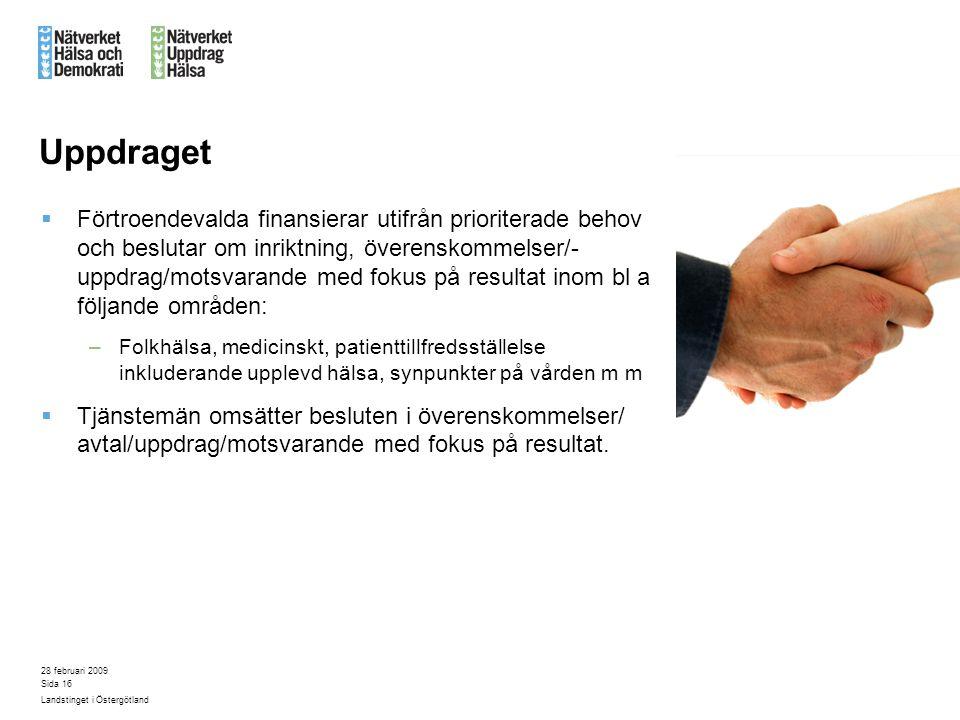 28 februari 2009 Landstinget i Östergötland Sida 16 Uppdraget  Förtroendevalda finansierar utifrån prioriterade behov och beslutar om inriktning, öve