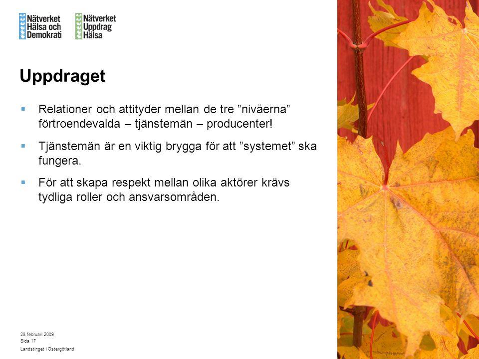 """28 februari 2009 Landstinget i Östergötland Sida 17 Uppdraget  Relationer och attityder mellan de tre """"nivåerna"""" förtroendevalda – tjänstemän – produ"""