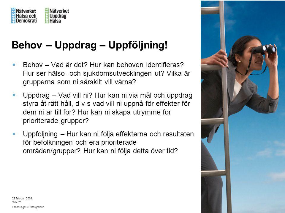 28 februari 2009 Landstinget i Östergötland Sida 20 Behov – Uppdrag – Uppföljning!  Behov – Vad är det? Hur kan behoven identifieras? Hur ser hälso-