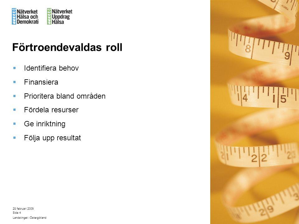 28 februari 2009 Landstinget i Östergötland Sida 4 Förtroendevaldas roll  Identifiera behov  Finansiera  Prioritera bland områden  Fördela resurse